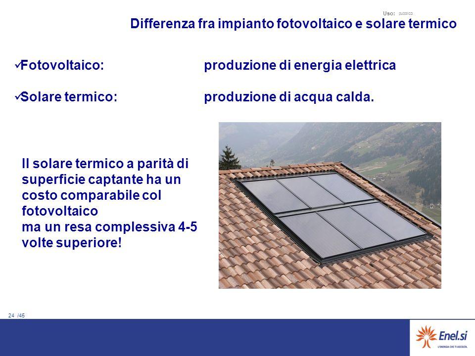 24 /45 Uso: pubblico Differenza fra impianto fotovoltaico e solare termico Fotovoltaico: produzione di energia elettrica Solare termico: produzione di acqua calda.