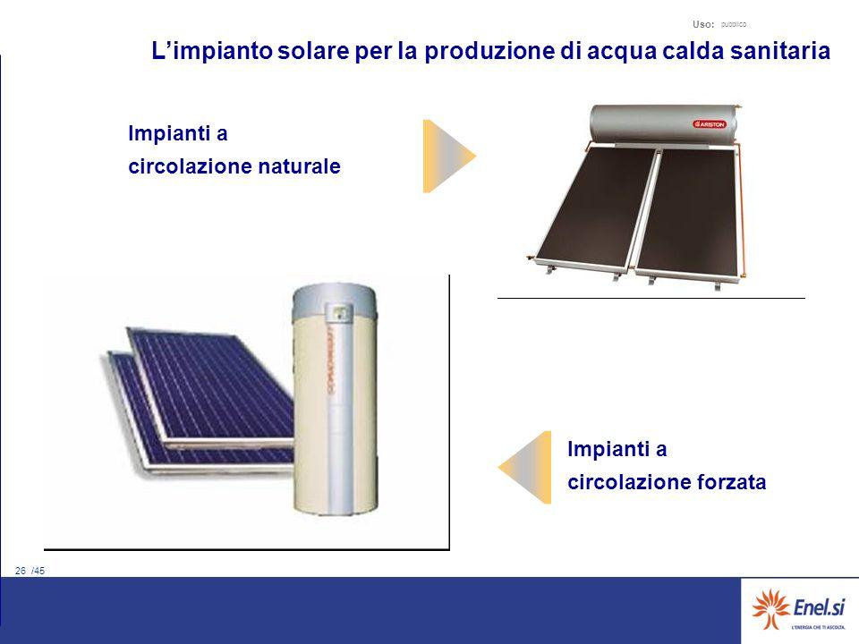 26 /45 Uso: pubblico Impianti a circolazione naturale Impianti a circolazione forzata Limpianto solare per la produzione di acqua calda sanitaria
