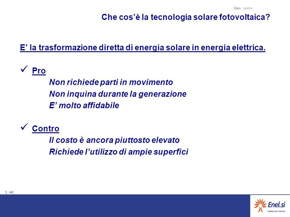 3 /45 Uso: pubblico E la trasformazione diretta di energia solare in energia elettrica. Pro Non richiede parti in movimento Non inquina durante la gen