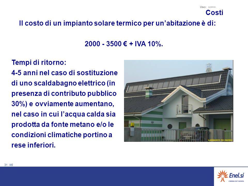 31 /45 Uso: pubblico Il costo di un impianto solare termico per unabitazione è di: 2000 - 3500 + IVA 10%. Costi Tempi di ritorno: 4-5 anni nel caso di