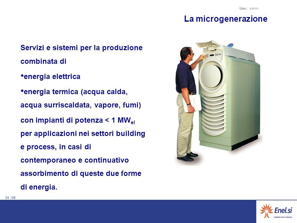 34 /45 Uso: pubblico La microgenerazione Servizi e sistemi per la produzione combinata di energia elettrica energia termica (acqua calda, acqua surris