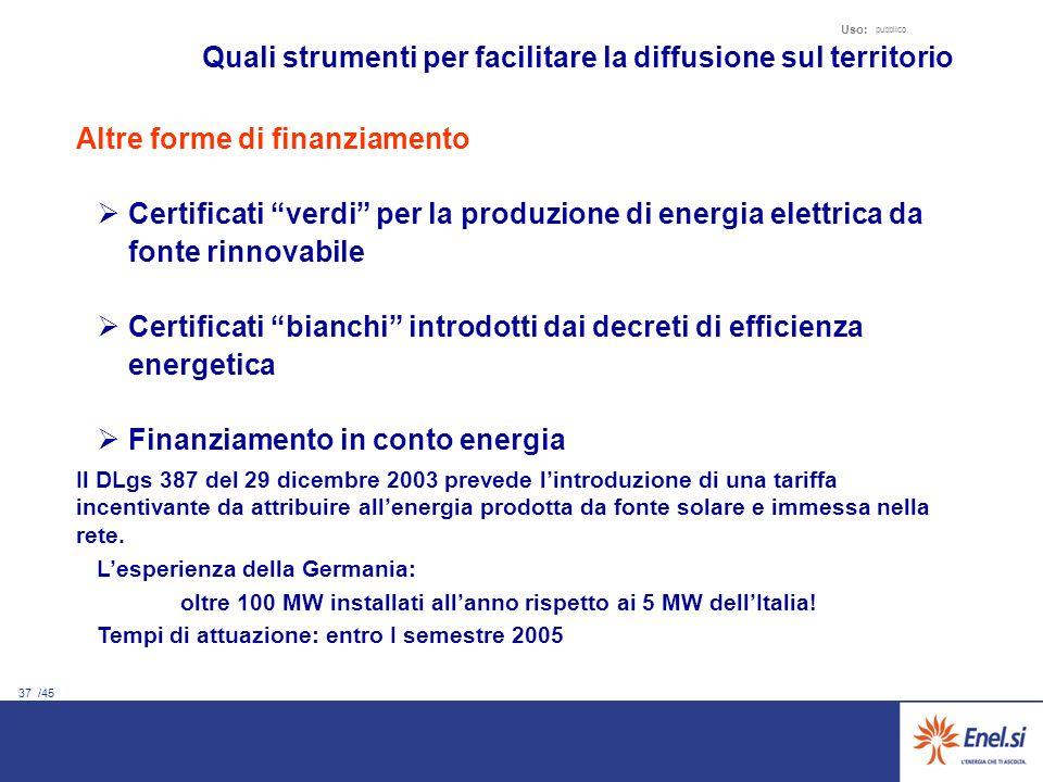 37 /45 Uso: pubblico Quali strumenti per facilitare la diffusione sul territorio Altre forme di finanziamento Certificati verdi per la produzione di e