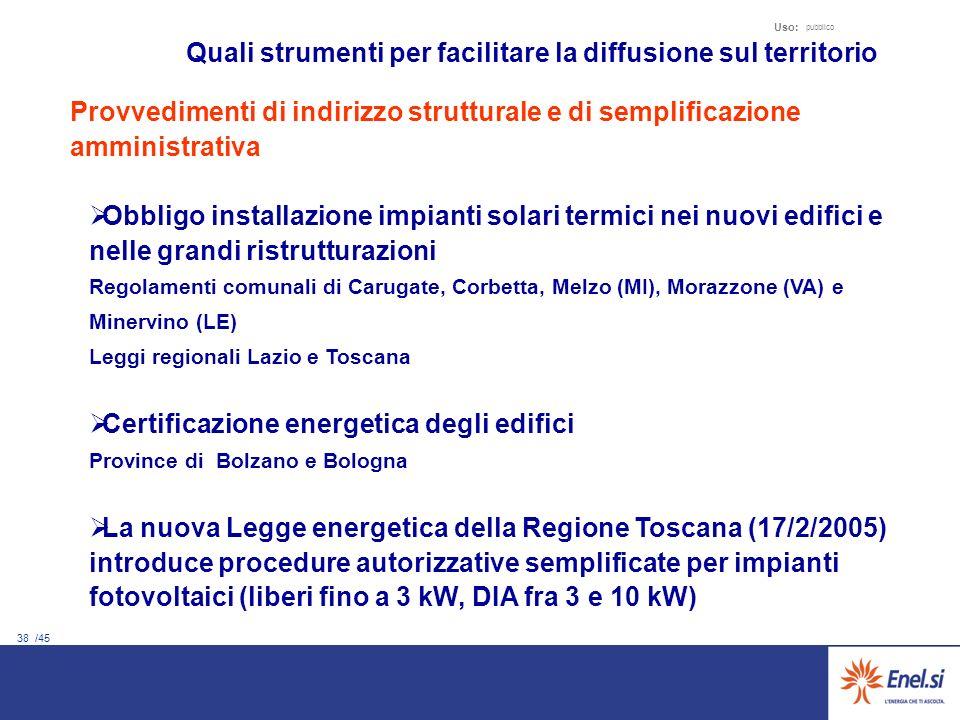38 /45 Uso: pubblico Quali strumenti per facilitare la diffusione sul territorio Provvedimenti di indirizzo strutturale e di semplificazione amministr