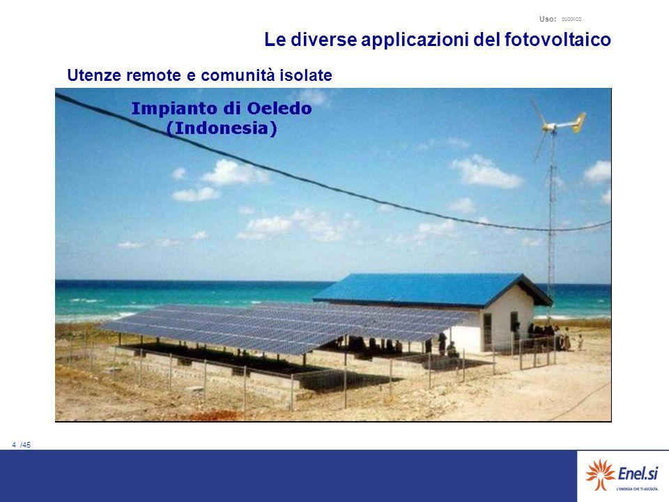 4 /45 Uso: pubblico Utenze remote e comunità isolate Le diverse applicazioni del fotovoltaico