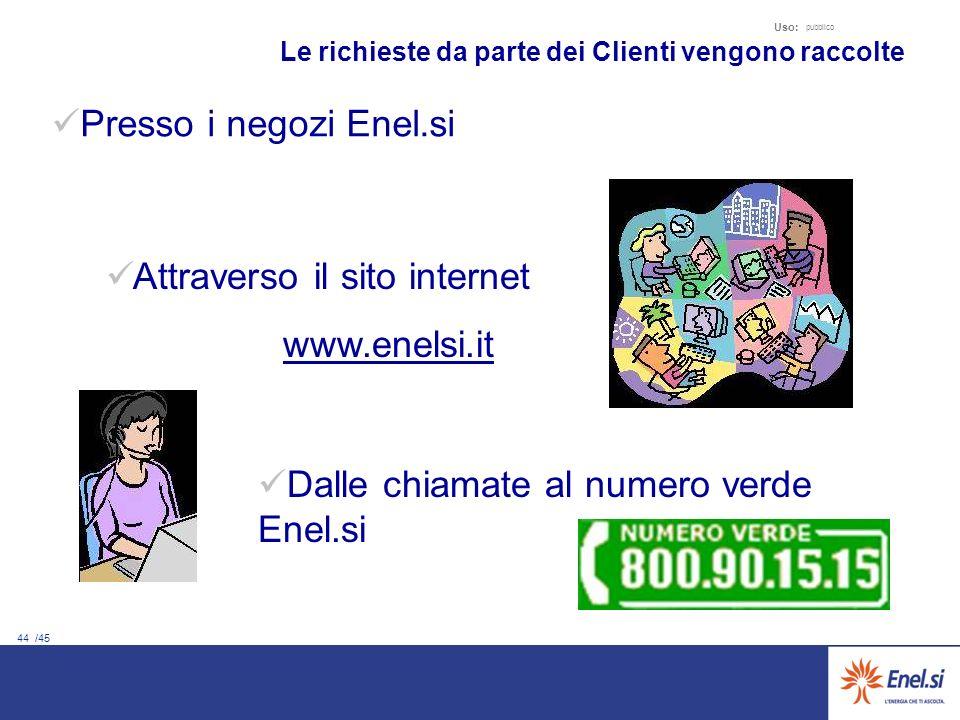 44 /45 Uso: pubblico Le richieste da parte dei Clienti vengono raccolte Attraverso il sito internet www.enelsi.it Dalle chiamate al numero verde Enel.si Presso i negozi Enel.si
