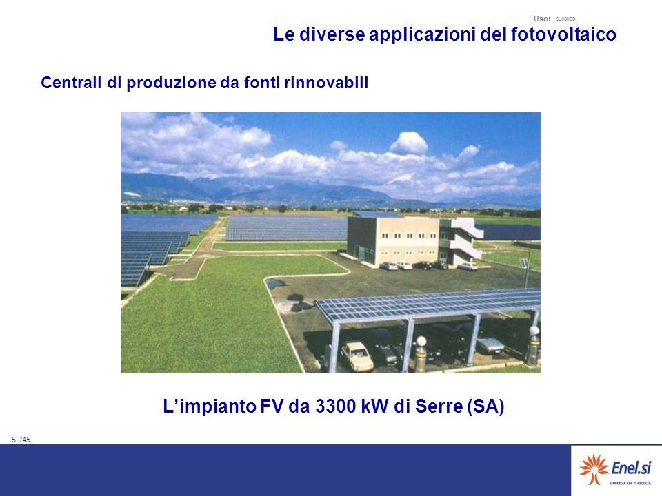 5 /45 Uso: pubblico Centrali di produzione da fonti rinnovabili Le diverse applicazioni del fotovoltaico Limpianto FV da 3300 kW di Serre (SA)