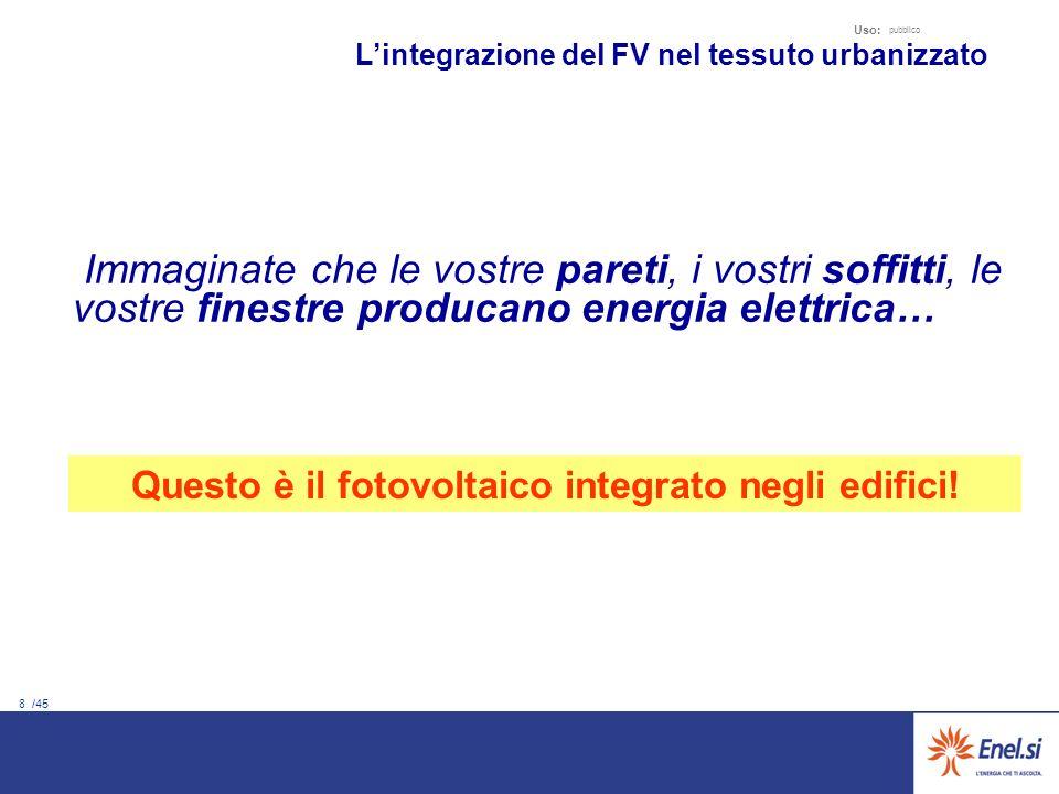 8 /45 Uso: pubblico Immaginate che le vostre pareti, i vostri soffitti, le vostre finestre producano energia elettrica… Lintegrazione del FV nel tessuto urbanizzato Questo è il fotovoltaico integrato negli edifici!