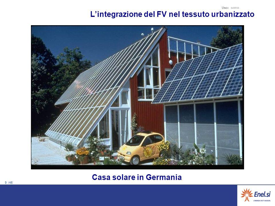 9 /45 Uso: pubblico Casa solare in Germania Lintegrazione del FV nel tessuto urbanizzato
