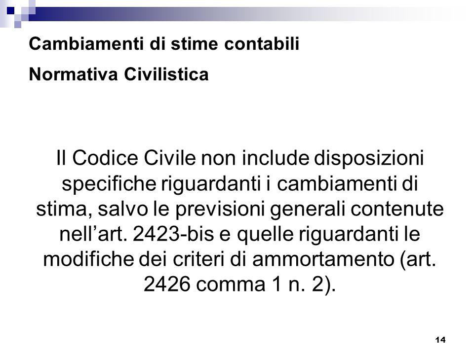 14 Cambiamenti di stime contabili Normativa Civilistica Il Codice Civile non include disposizioni specifiche riguardanti i cambiamenti di stima, salvo le previsioni generali contenute nellart.