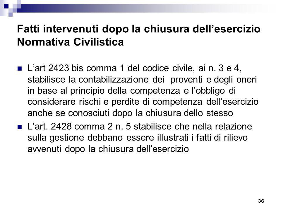 36 Fatti intervenuti dopo la chiusura dellesercizio Normativa Civilistica Lart 2423 bis comma 1 del codice civile, ai n.