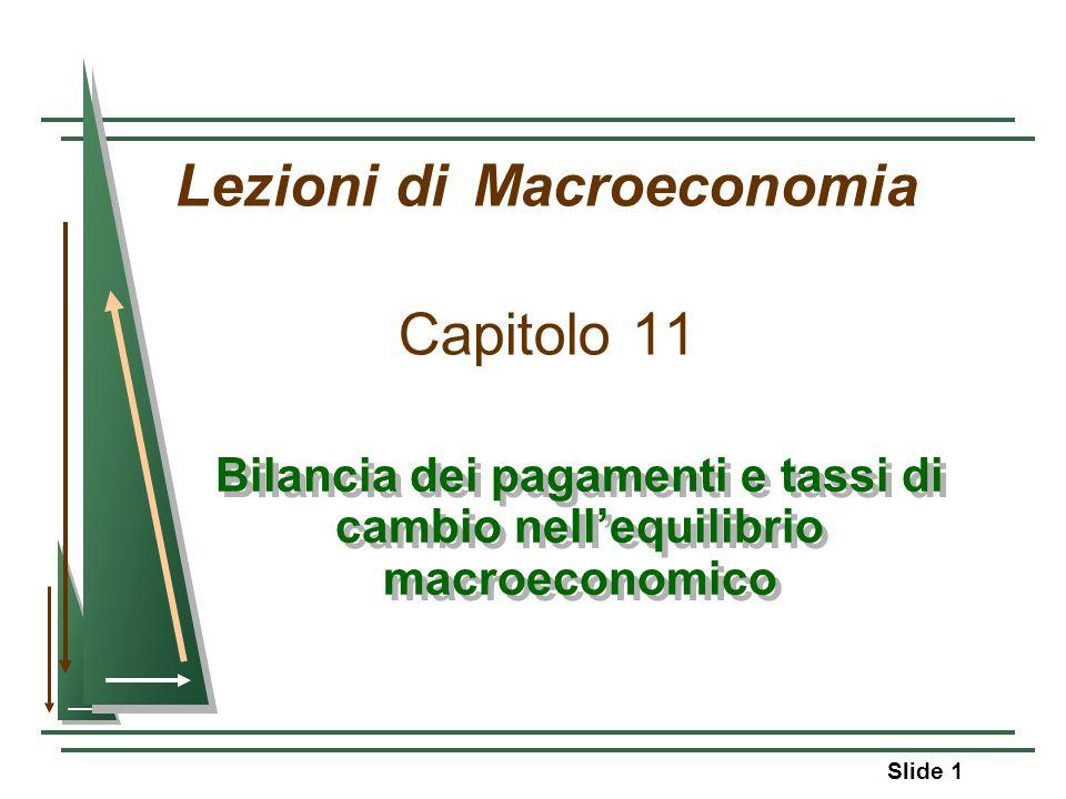 Slide 1 Lezioni di Macroeconomia Capitolo 11 Bilancia dei pagamenti e tassi di cambio nellequilibrio macroeconomico