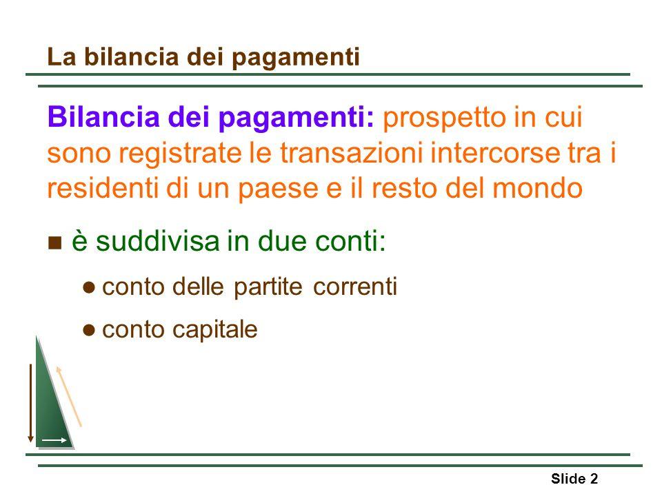 Slide 2 La bilancia dei pagamenti Bilancia dei pagamenti: prospetto in cui sono registrate le transazioni intercorse tra i residenti di un paese e il