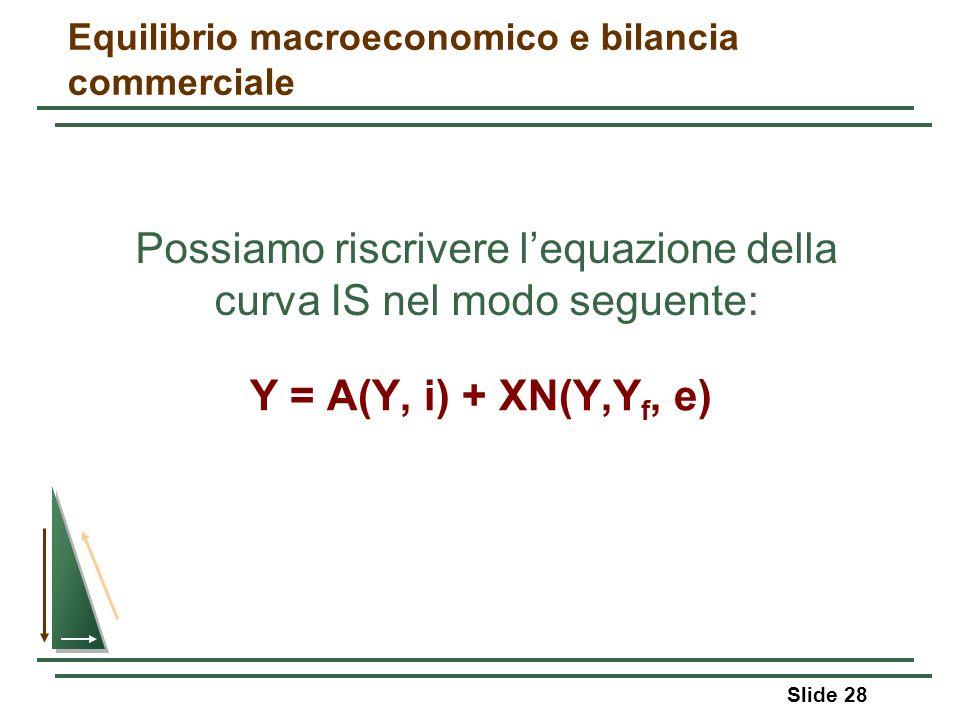 Slide 28 Equilibrio macroeconomico e bilancia commerciale Y = A(Y, i) + XN(Y,Y f, e) Possiamo riscrivere lequazione della curva IS nel modo seguente: