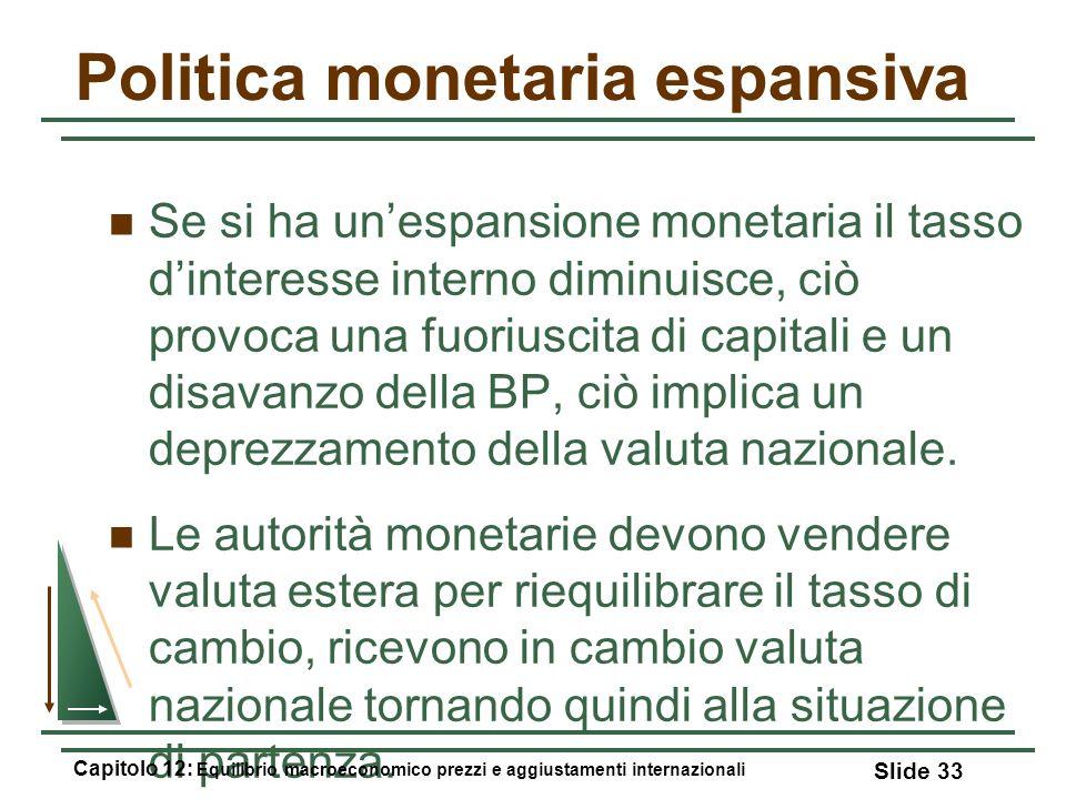 Politica monetaria espansiva Se si ha unespansione monetaria il tasso dinteresse interno diminuisce, ciò provoca una fuoriuscita di capitali e un disa