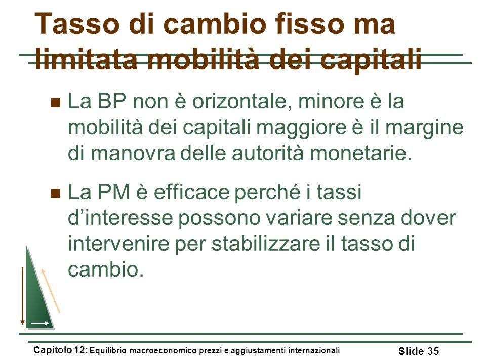 Tasso di cambio fisso ma limitata mobilità dei capitali La BP non è orizontale, minore è la mobilità dei capitali maggiore è il margine di manovra del