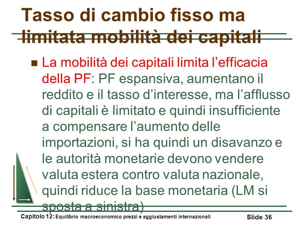 Tasso di cambio fisso ma limitata mobilità dei capitali La mobilità dei capitali limita lefficacia della PF: PF espansiva, aumentano il reddito e il t