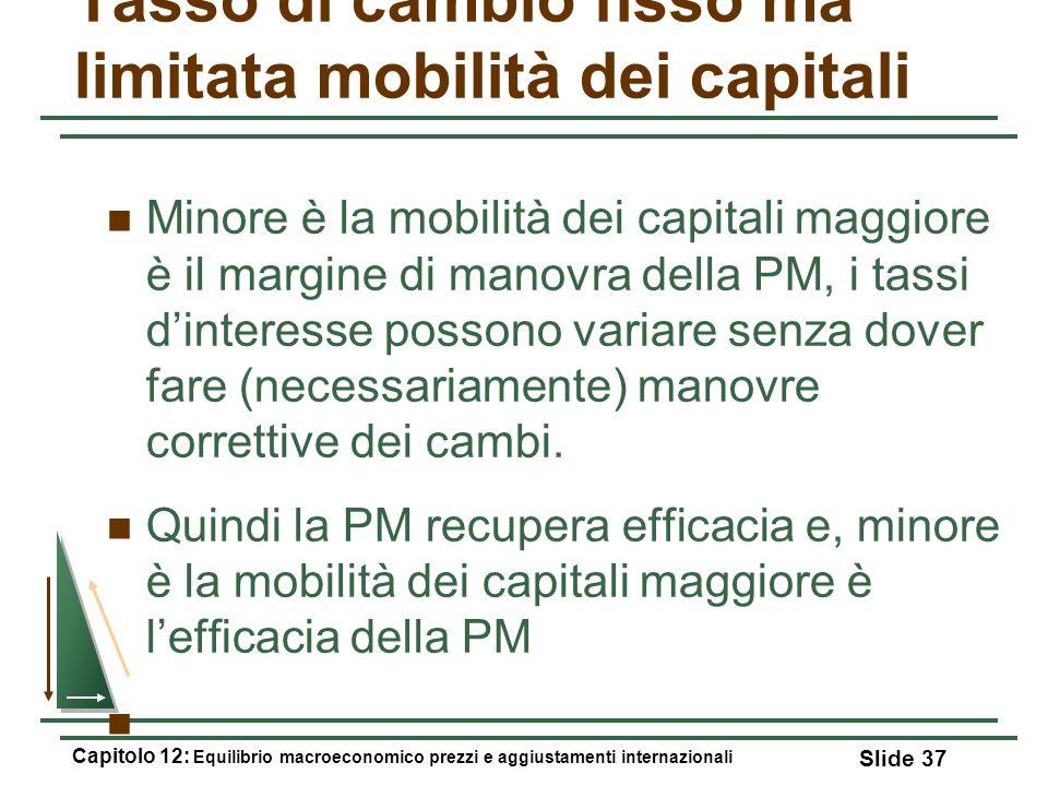 Tasso di cambio fisso ma limitata mobilità dei capitali Minore è la mobilità dei capitali maggiore è il margine di manovra della PM, i tassi dinteress
