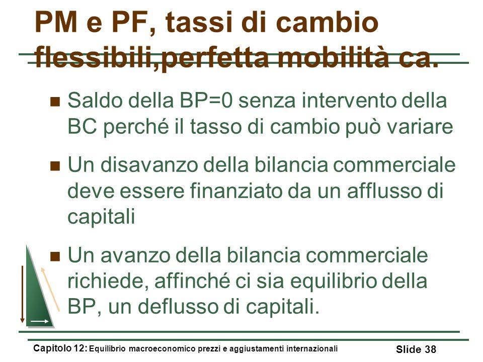 PM e PF, tassi di cambio flessibili,perfetta mobilità ca. Saldo della BP=0 senza intervento della BC perché il tasso di cambio può variare Un disavanz