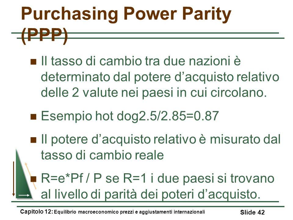 Purchasing Power Parity (PPP) Il tasso di cambio tra due nazioni è determinato dal potere dacquisto relativo delle 2 valute nei paesi in cui circolano