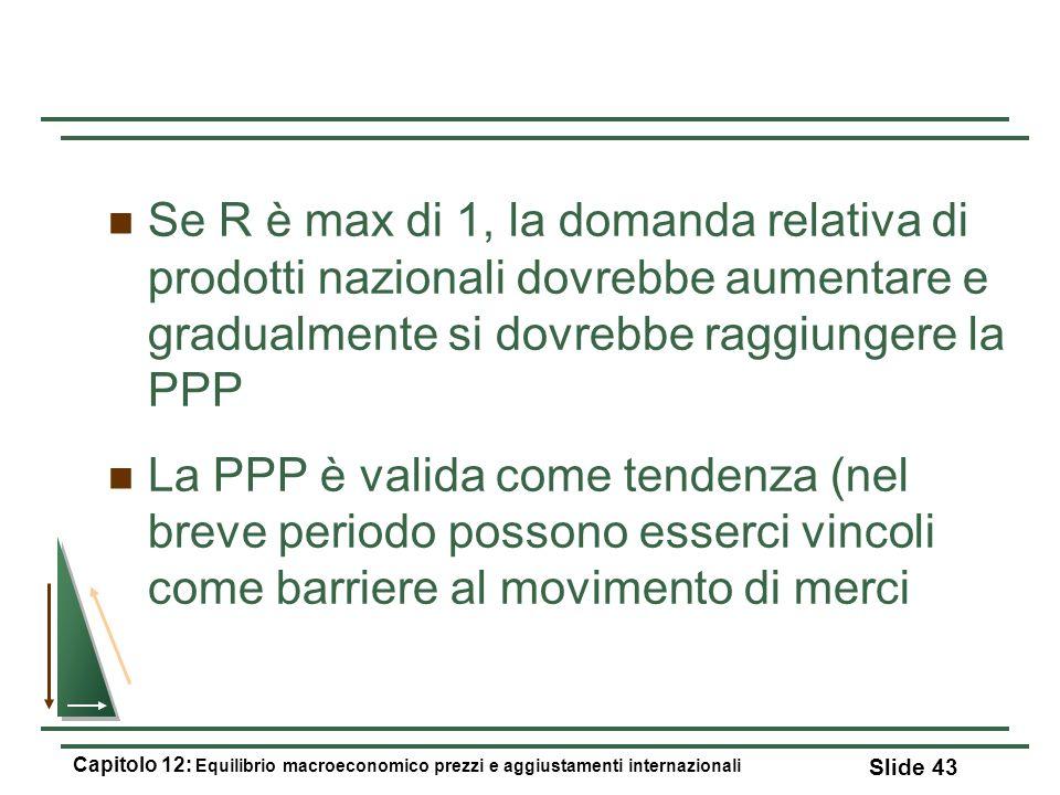 Se R è max di 1, la domanda relativa di prodotti nazionali dovrebbe aumentare e gradualmente si dovrebbe raggiungere la PPP La PPP è valida come tende