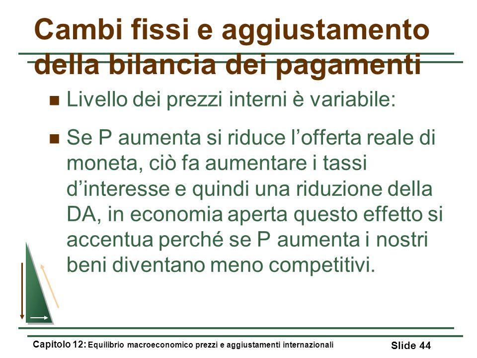 Cambi fissi e aggiustamento della bilancia dei pagamenti Livello dei prezzi interni è variabile: Se P aumenta si riduce lofferta reale di moneta, ciò