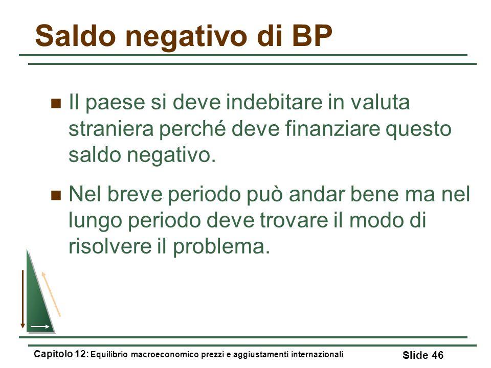 Saldo negativo di BP Il paese si deve indebitare in valuta straniera perché deve finanziare questo saldo negativo. Nel breve periodo può andar bene ma
