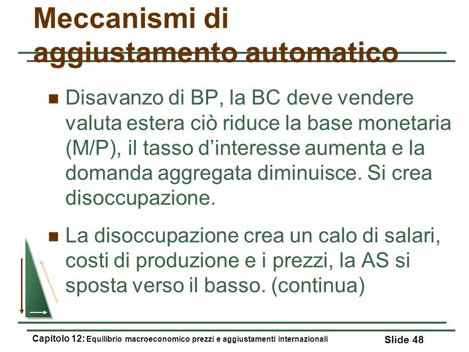 Meccanismi di aggiustamento automatico Disavanzo di BP, la BC deve vendere valuta estera ciò riduce la base monetaria (M/P), il tasso dinteresse aumen