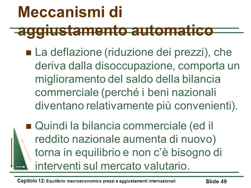 Meccanismi di aggiustamento automatico La deflazione (riduzione dei prezzi), che deriva dalla disoccupazione, comporta un miglioramento del saldo dell