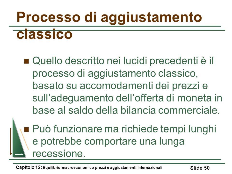 Processo di aggiustamento classico Quello descritto nei lucidi precedenti è il processo di aggiustamento classico, basato su accomodamenti dei prezzi