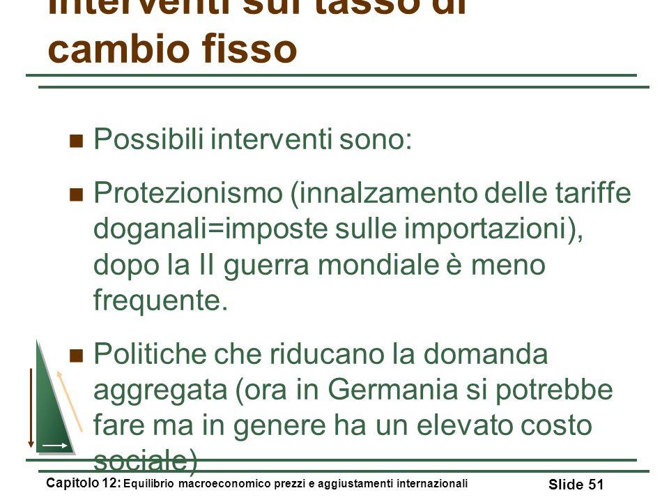 Interventi sul tasso di cambio fisso Possibili interventi sono: Protezionismo (innalzamento delle tariffe doganali=imposte sulle importazioni), dopo l