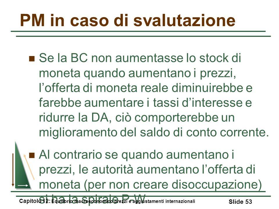 PM in caso di svalutazione Se la BC non aumentasse lo stock di moneta quando aumentano i prezzi, lofferta di moneta reale diminuirebbe e farebbe aumen