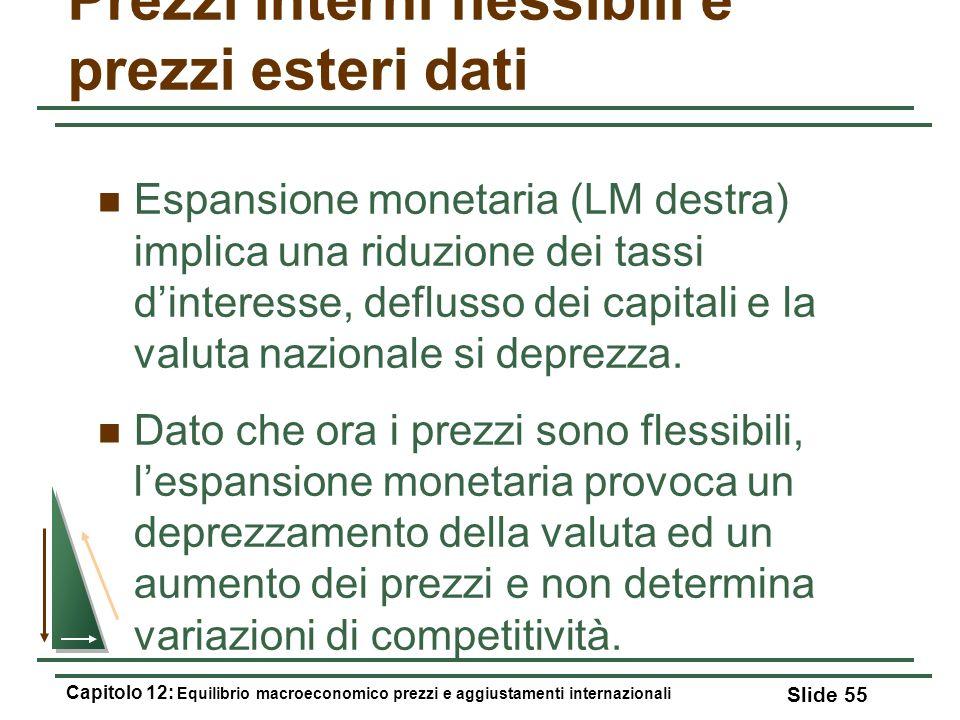 Prezzi interni flessibili e prezzi esteri dati Espansione monetaria (LM destra) implica una riduzione dei tassi dinteresse, deflusso dei capitali e la