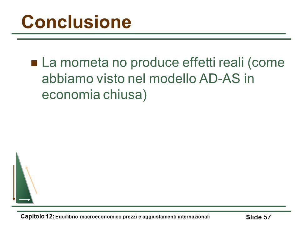 Conclusione La mometa no produce effetti reali (come abbiamo visto nel modello AD-AS in economia chiusa) Capitolo 12: Equilibrio macroeconomico prezzi