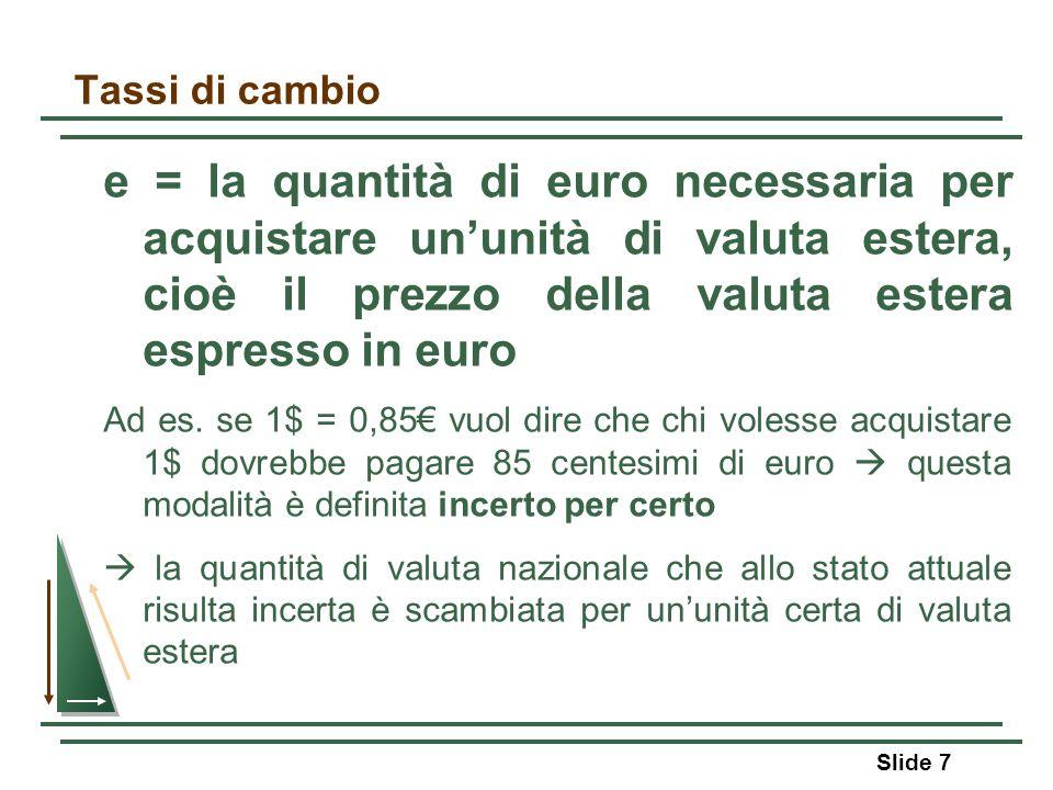 Tassi di cambio e = la quantità di euro necessaria per acquistare ununità di valuta estera, cioè il prezzo della valuta estera espresso in euro Ad es.