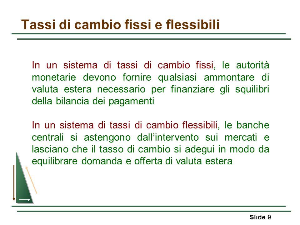 Slide 9 Tassi di cambio fissi e flessibili In un sistema di tassi di cambio fissi, le autorità monetarie devono fornire qualsiasi ammontare di valuta