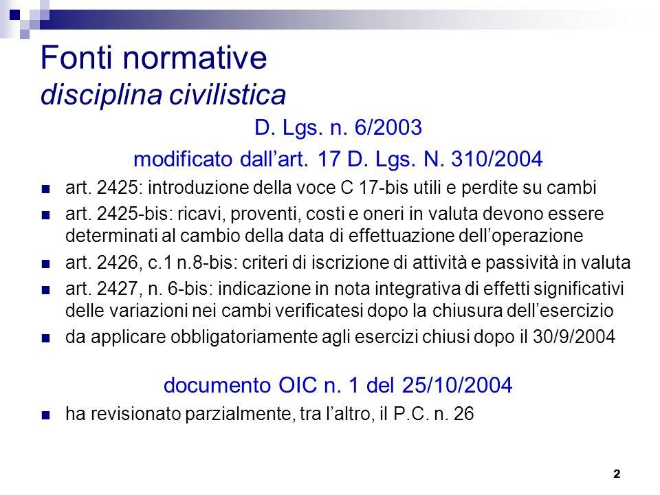 2 Fonti normative disciplina civilistica D. Lgs. n.
