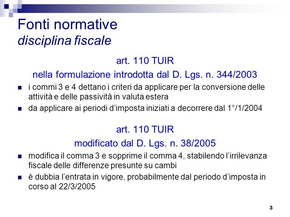 3 Fonti normative disciplina fiscale art. 110 TUIR nella formulazione introdotta dal D.