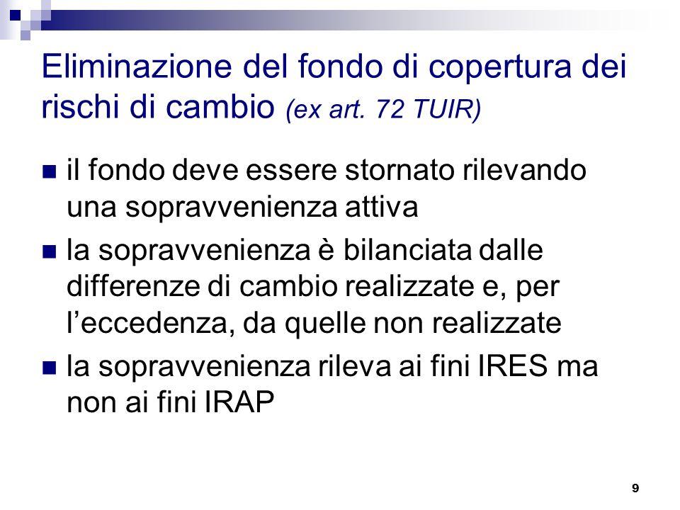 9 Eliminazione del fondo di copertura dei rischi di cambio (ex art.