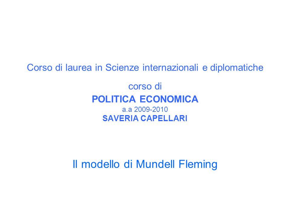 Corso di laurea in Scienze internazionali e diplomatiche corso di POLITICA ECONOMICA a.a 2009-2010 SAVERIA CAPELLARI Il modello di Mundell Fleming