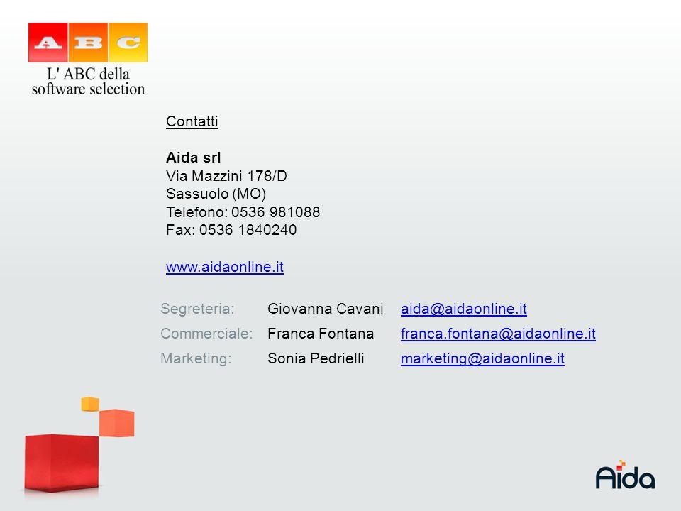 Contatti Aida srl Via Mazzini 178/D Sassuolo (MO) Telefono: 0536 981088 Fax: 0536 1840240 www.aidaonline.it Segreteria:Giovanna Cavaniaida@aidaonline.