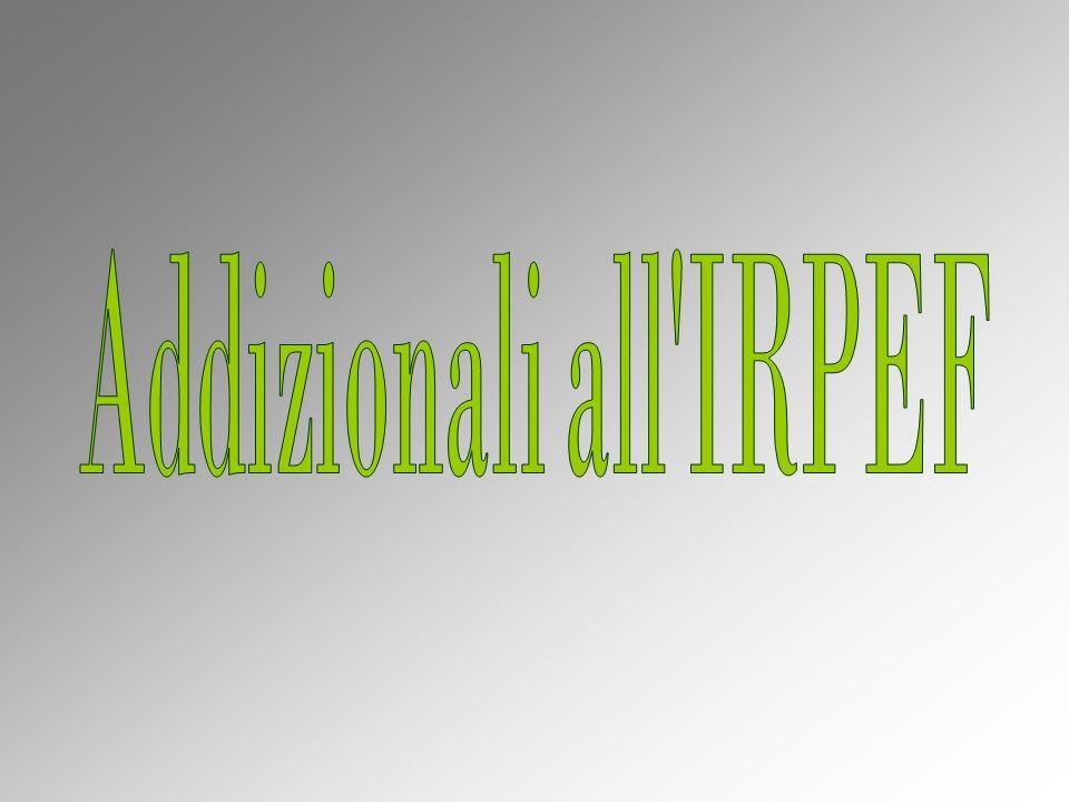 A decorrere dal periodo dimposta 1998, è stata istituita laddizionale regionale allIRPEF.