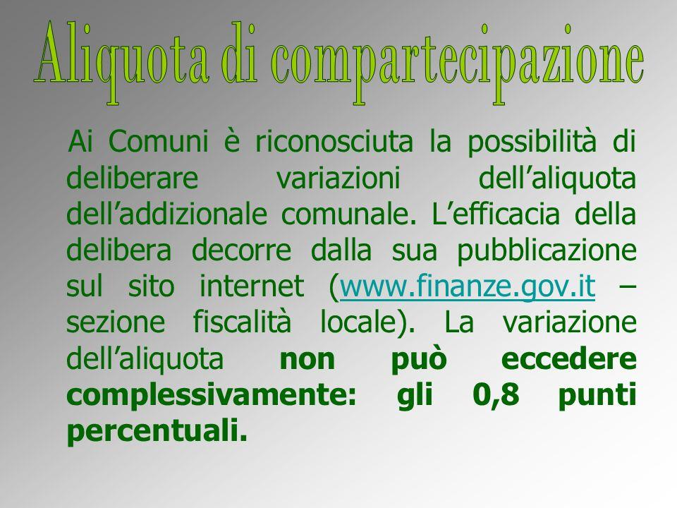 Ai Comuni è riconosciuta la possibilità di deliberare variazioni dellaliquota delladdizionale comunale.