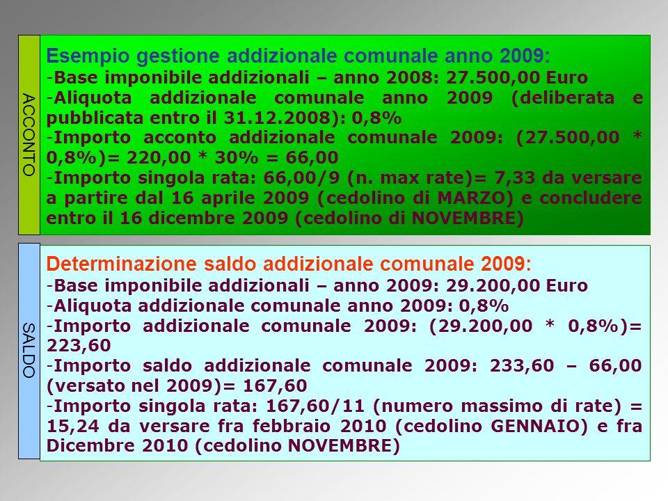 Esempio gestione addizionale comunale anno 2009: -Base imponibile addizionali – anno 2008: 27.500,00 Euro -Aliquota addizionale comunale anno 2009 (deliberata e pubblicata entro il 31.12.2008): 0,8% -Importo acconto addizionale comunale 2009: (27.500,00 * 0,8%)= 220,00 * 30% = 66,00 -Importo singola rata: 66,00/9 (n.