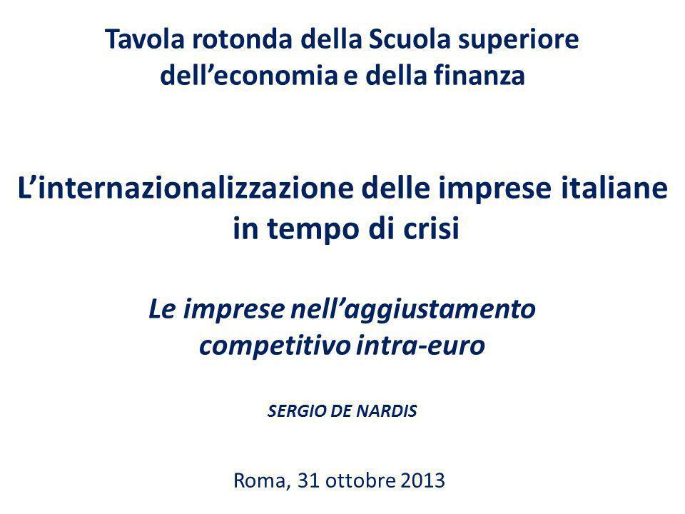 Tavola rotonda della Scuola superiore delleconomia e della finanza Linternazionalizzazione delle imprese italiane in tempo di crisi Le imprese nellaggiustamento competitivo intra-euro SERGIO DE NARDIS Roma, 31 ottobre 2013