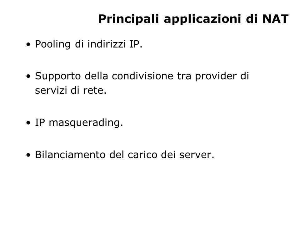 Principali applicazioni di NAT Pooling di indirizzi IP.