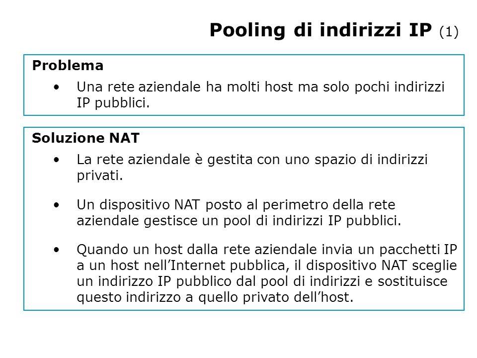 Pooling di indirizzi IP (1) Problema Una rete aziendale ha molti host ma solo pochi indirizzi IP pubblici.