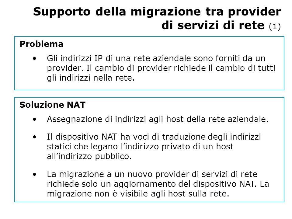 Supporto della migrazione tra provider di servizi di rete (1) Problema Gli indirizzi IP di una rete aziendale sono forniti da un provider.