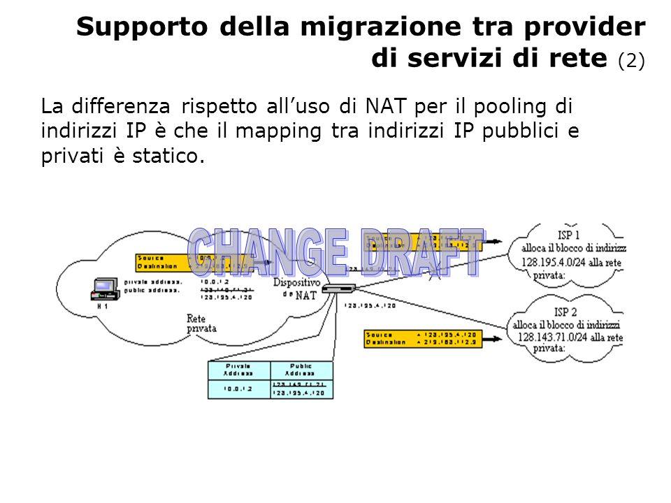 Supporto della migrazione tra provider di servizi di rete (2) La differenza rispetto alluso di NAT per il pooling di indirizzi IP è che il mapping tra indirizzi IP pubblici e privati è statico.