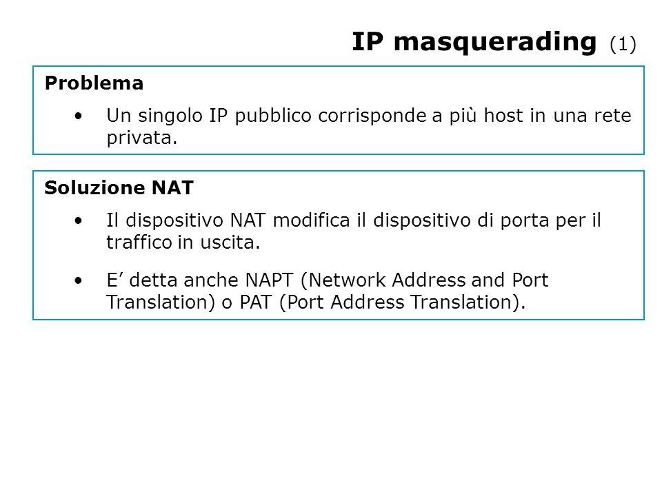 IP masquerading (1) Problema Un singolo IP pubblico corrisponde a più host in una rete privata.
