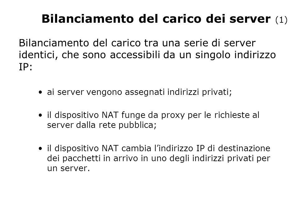 Bilanciamento del carico dei server (1) Bilanciamento del carico tra una serie di server identici, che sono accessibili da un singolo indirizzo IP: ai server vengono assegnati indirizzi privati; il dispositivo NAT funge da proxy per le richieste al server dalla rete pubblica; il dispositivo NAT cambia lindirizzo IP di destinazione dei pacchetti in arrivo in uno degli indirizzi privati per un server.